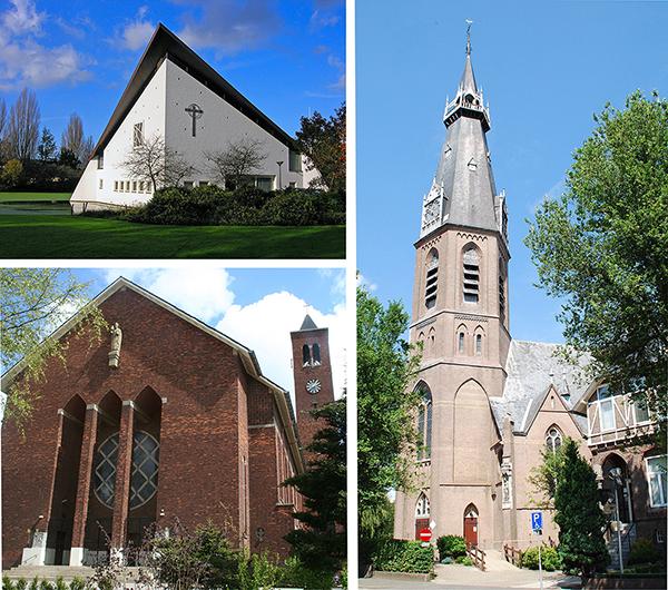 Kerken waar het Pauluskoo Amstelveen concerten geeft en/of repeteert: Paaskerk, St. Augustinuskerk en de St. Urbanuskerk
